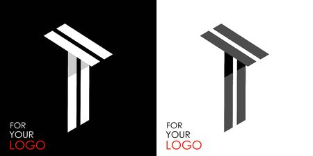 Isometric letter T. From stripes, lines. Template for creating logos, emblems, monograms. Black and white options. 3D art symbol. Vector Illusztráció