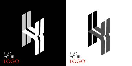 Isometric letter K. From stripes, lines. Template for creating logos, emblems, monograms. Black and white options. 3D art symbol. Vector