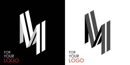 Isometric letter M. From stripes, lines. Template for creating logos, emblems, monograms. Black and white options. 3D art symbol. Vector
