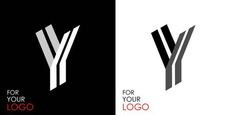 Isometric letter Y. From stripes, lines. Template for creating logos, emblems, monograms. Black and white options. 3D art symbol. Vector