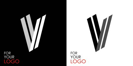 Isometric letter V. From stripes, lines. Template for creating logos, emblems, monograms. Black and white options. 3D art symbol. Vector
