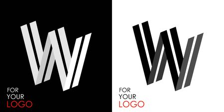 Isometric letter W. From stripes, lines. Template for creating logos, emblems, monograms. Black and white options. 3D art symbol. Vector Illusztráció