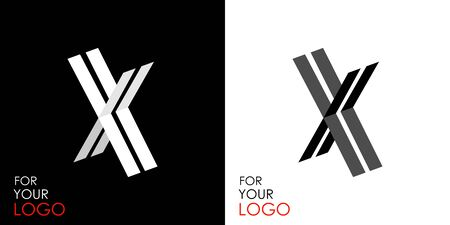 Isometric letter X. From stripes, lines. Template for creating logos, emblems, monograms. Black and white options. 3D art symbol. Vector