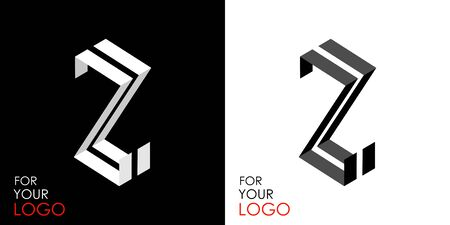 Isometric letter Z. From stripes, lines. Template for creating logos, emblems, monograms. Black and white options. 3D art symbol. Vector