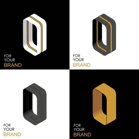 Isometric set letter O. Black, white, gold palette. From stripes, lines. Template for creating logos, emblems, monograms. Black and white options. 3D art symbol. Vector