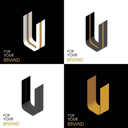 Isometric set letter U. Black, white, gold palette. From stripes, lines. Template for creating logos, emblems, monograms. Black and white options. 3D art symbol. Vector Illusztráció