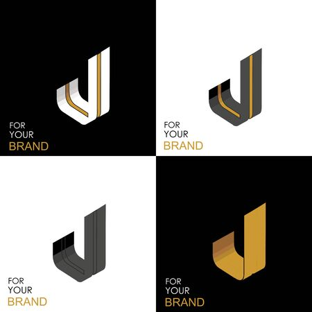Isometric set letter J. Black, white, gold palette. From stripes, lines. Template for creating logos, emblems, monograms. Black and white options. 3D art symbol. Vector