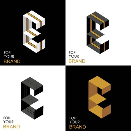 Isometric set letter E. Black, white, gold palette. From stripes, lines. Template for creating logos, emblems, monograms. Black and white options. 3D art symbol. Vector