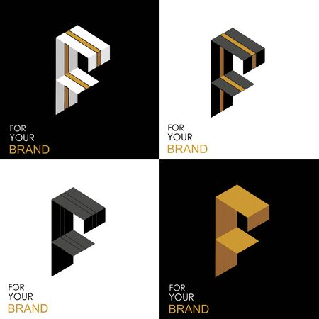 Isometric set letter F. Black, white, gold palette. From stripes, lines. Template for creating logos, emblems, monograms. Black and white options. 3D art symbol. Vector