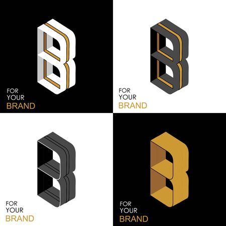 Isometric set letter B. Black, white, gold palette. From stripes, lines. Template for creating logos, emblems, monograms. Black and white options. 3D art symbol. Vector