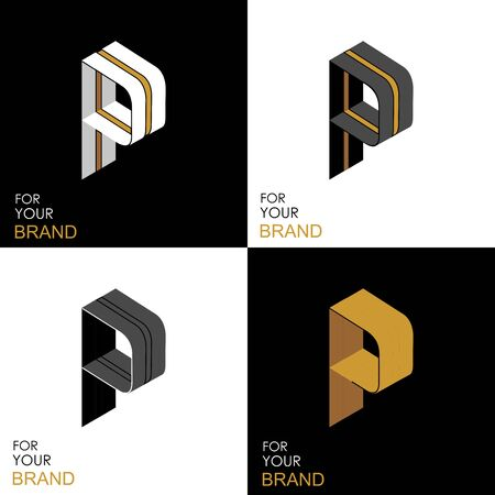 Isometric set letter P. Black, white, gold palette. From stripes, lines. Template for creating logos, emblems, monograms. Black and white options. 3D art symbol. Vector Illusztráció