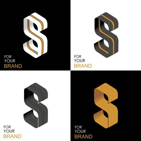 Isometric set letter S. Black, white, gold palette. From stripes, lines. Template for creating logos, emblems, monograms. Black and white options. 3D art symbol. Vector Illusztráció
