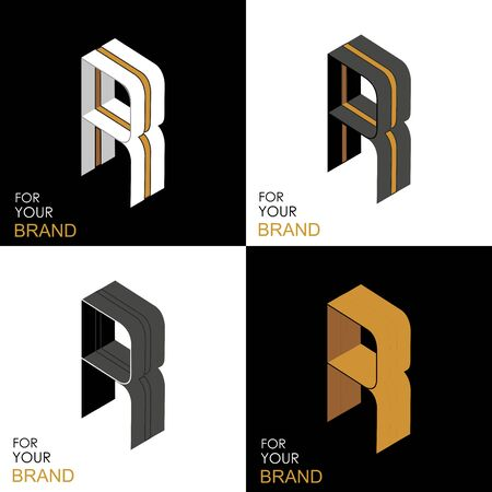 Isometric set letter R. Black, white, gold palette. From stripes, lines. Template for creating logos, emblems, monograms. Black and white options. 3D art symbol. Vector