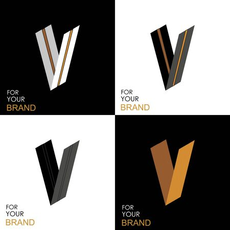 Isometric set letter V. Black, white, gold palette. From stripes, lines. Template for creating logos, emblems, monograms. Black and white options. 3D art symbol. Vector