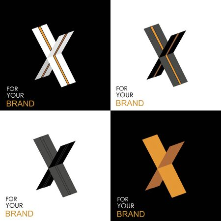 Isometric set letter X. Black, white, gold palette. From stripes, lines. Template for creating logos, emblems, monograms. Black and white options. 3D art symbol. Vector