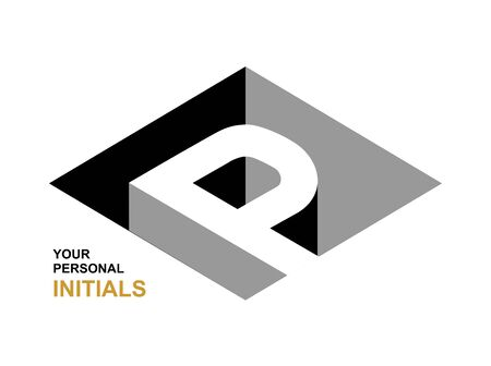 Isometric letter P. Template for creating logos, emblems, monograms. Black and white . 3D art symbol. Vector Logo