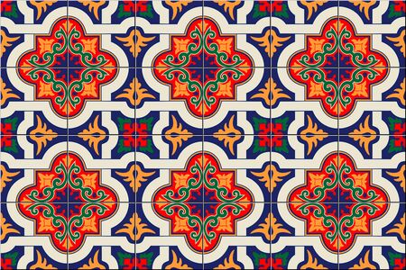 Gorgeous seamless pattern white colorful Moroccan, Portuguese tiles, Azulejo, ornaments. Can be used for wallpaper, pattern fills, web page background, surface textures. Vector