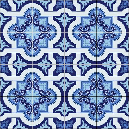 Gorgeous seamless pattern white blue colors Moroccan, Portuguese tiles, Azulejo, ornaments. Can be used for wallpaper, pattern fills, web page background, surface textures. Vector