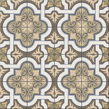Gorgeous seamless pattern white shades of brown, sepia Moroccan, Portuguese tiles, Azulejo, ornaments. Can be used for wallpaper, pattern fills, web page background, surface textures. Vector