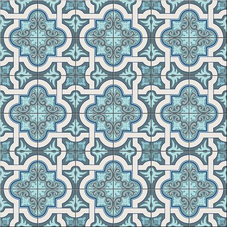 Gorgeous seamless pattern white trendy shades of green and blue Moroccan, Portuguese tiles, Azulejo, ornaments. Can be used for wallpaper, pattern fills, web page background, surface textures. Vector Illusztráció