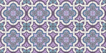 Gorgeous seamless pattern white fashionable shades of purple and lilac Moroccan, Portuguese tiles, Azulejo, ornaments. Can be used for wallpaper, pattern fills, web page backgroundVector