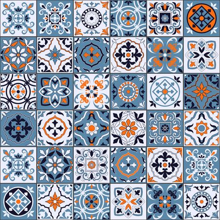 Gorgeous seamless pattern in a fashionable color palette Moroccan, Portuguese tiles, Azulejo, ornaments. Can be used for wallpaper, pattern fills, web page background, surface textures. Vector Ilustracje wektorowe