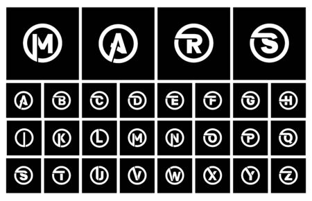 Modern Set of templates, minimalistic capital letters inscribed in a circle of wide white bands with an overlay of shadows. To create emblems, monograms, logos. Vector