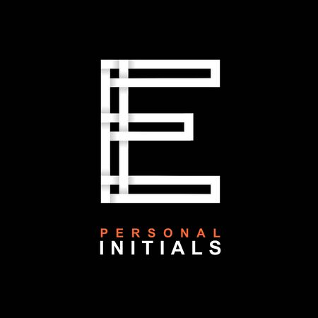 Capital letter E. Created from interwoven white stripes with shadows on a black background. Template for creating logo, emblems, monograms, personal initials, corporate identity. Vector