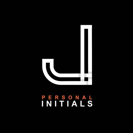 Capital letter J. Created from interwoven white stripes with shadows on a black background. Template for creating logo, emblems, monograms, personal initials, corporate identity. Vector Illusztráció