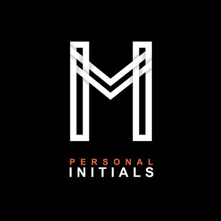 Capital letter M. Created from interwoven white stripes with shadows on a black background. Template for creating logo, emblems, monograms, personal initials, corporate identity. Vector