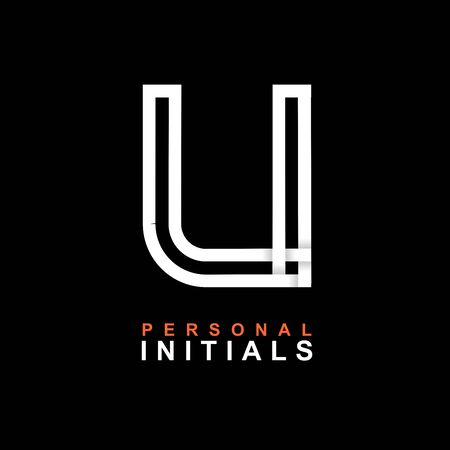 Capital letter U. Created from interwoven white stripes with shadows on a black background. Template for creating logo, emblems, monograms, personal initials, corporate identity. Vector Illusztráció