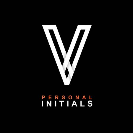 Capital letter V. Created from interwoven white stripes with shadows on a black background. Template for creating logo, emblems, monograms, personal initials, corporate identity. Vector