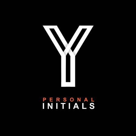 Capital letter Y. Created from interwoven white stripes with shadows on a black background. Template for creating logo, emblems, monograms, personal initials, corporate identity. Vector