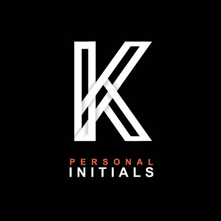 Capital letter K. Created from interwoven white stripes with shadows on a black background. Template for creating logo, emblems, monograms, personal initials, corporate identity. Vector Illusztráció