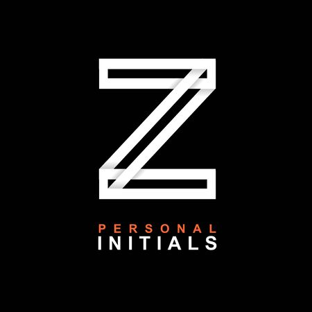 Capital letter Z. Created from interwoven white stripes with shadows on a black background. Template for creating logo, emblems, monograms, personal initials, corporate identity. Vector
