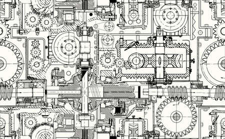 Seamless technical pattern, a background of worm gears and other gears combined into a fantastic machinery. Perfect for web pages, documents, wallpaper in the interior. Vectores