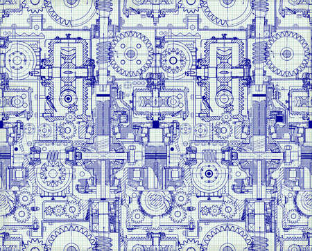 Seamless technical pattern, a background of worm gears and other gears combined into a fantastic machinery. Vintage Graph Paper