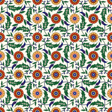 Seamless ethnic ornament, floral background. Turkish, Arabic, Indian style. Great for interior wallpaper, web design, fabric creation.