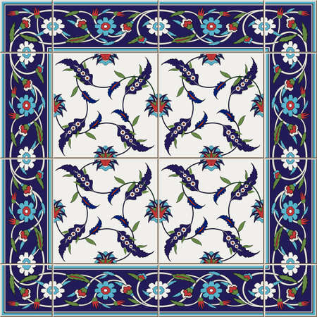 Gorgeous seamless pattern from tiles and border. Moroccan, Portuguese,Turkish, Azulejo ornaments. Can be used for wallpaper, pattern fills, web page background,surface textures.
