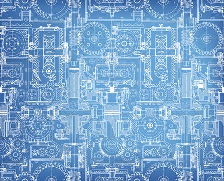 Seamless technical pattern, blueprint , a background of worm gears and other gears combined into a fantastic machinery. Vintage Graph Paper
