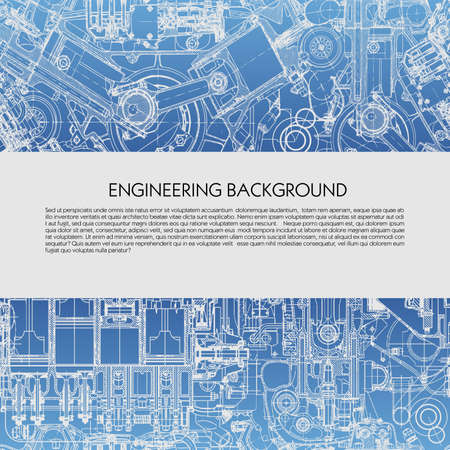 Template engineering background with drawings of car engines with space for your text, blueprint. Vectores