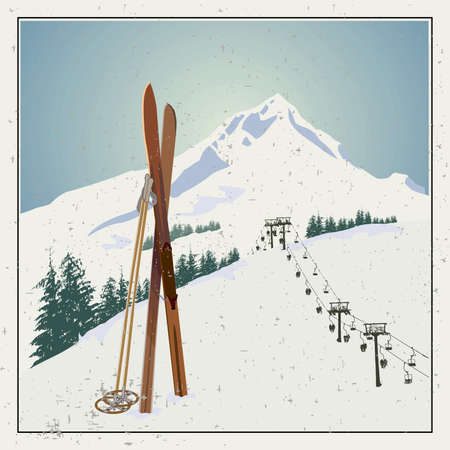 Vector winter themed template with wooden old fashioned skis and poles in the snow with snowy mountains and clear sky on background. Retro looking minimalistic skiing promotion poster template Векторная Иллюстрация