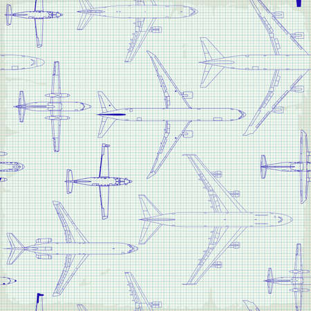 Seamless pattern flying passenger airplanes from different times. airplane drawings on graph vintage paper