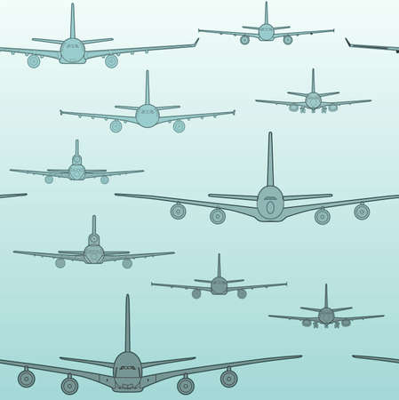 Seamless pattern flying passenger airplanes from different models . Airplane drawings