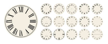 Big set of vector clock faces, watch dials in different styles for watch clock design