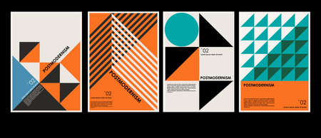 Artworks, posters inspired postmodern of vector abstract dynamic symbols with bold geometric shapes, useful for web background, poster art design, magazine front page, hi-tech print, cover artwork. Vector Illustration