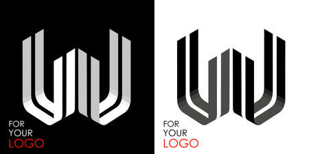 Isometric letter U in two perspectives. From stripes, lines. Template for creating logos, emblems, monograms. Black and white options. 3D art symbol. Vector illustration. Other letters in my portfolio