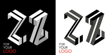 Isometric letter Z in two perspectives. From stripes, lines. Template for creating logos, emblems, monograms. Black and white options. 3D art symbol. Vector illustration. Other letters in my portfolio