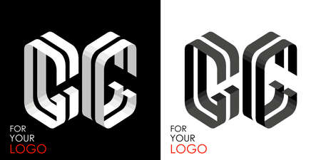 Isometric letter G in two perspectives. From stripes, lines. Template for creating logos, emblems, monograms. Black and white options. 3D art symbol. Vector illustration. Other letters in my portfolio