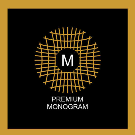 Exquisite template for creating a monogram, emblem. Intertwined spider web, intertwined bamboo branches